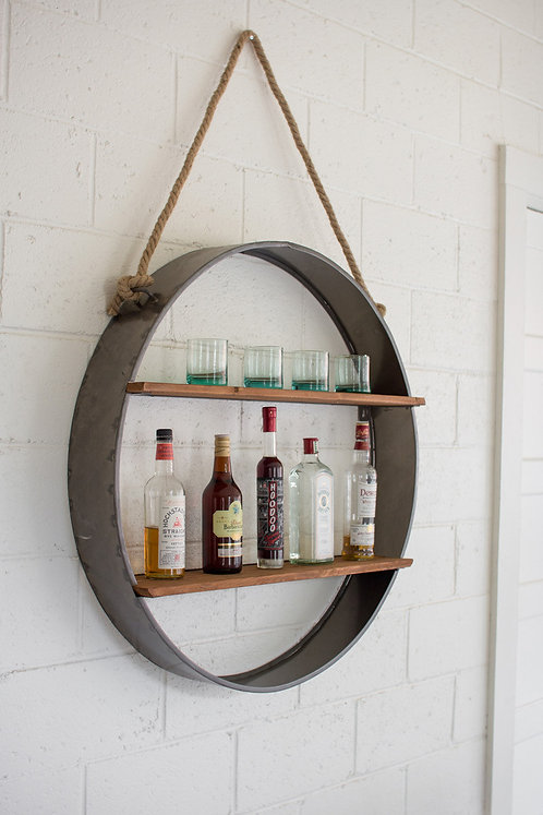 Iron hanging wall shelf