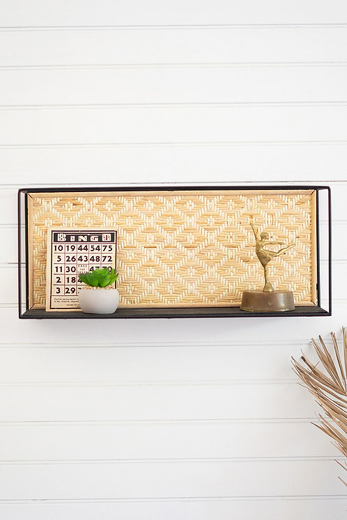 Modern metal shelf with rattan back