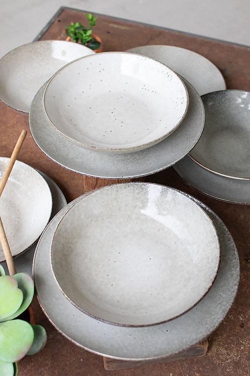 12-seat oatmeal ceramic plate & bowl set