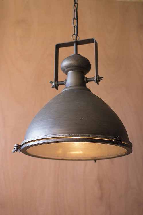 Metal warehouse pendant light with glass cover