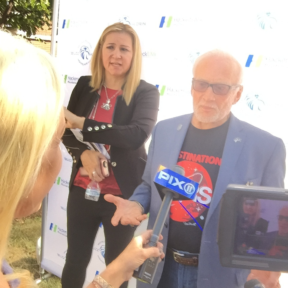 TV reporter interview with Buzz Aldrin, the second man to walk on the moon.