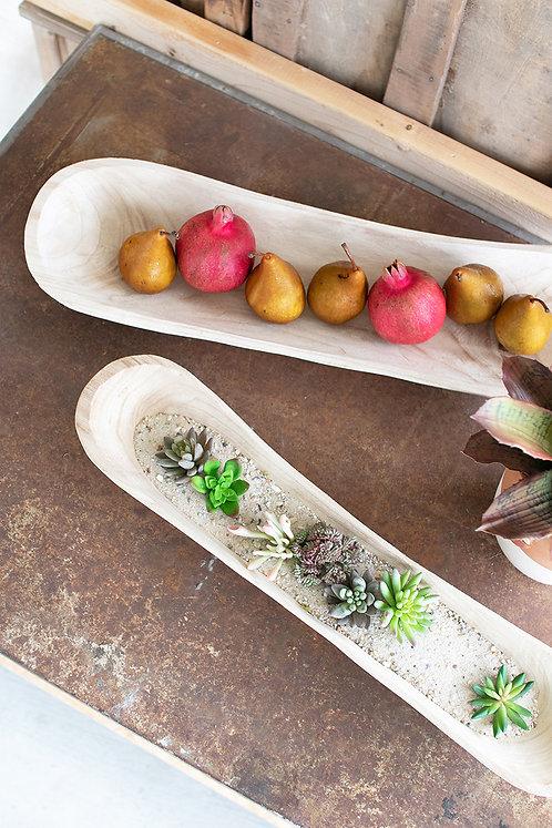 Set of 2 large hand-carved wooden bowls