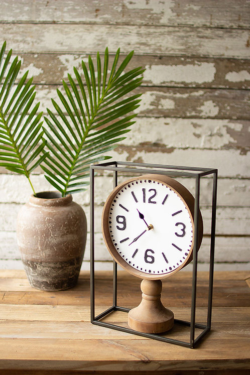 Metal framed tabletop wooden clock