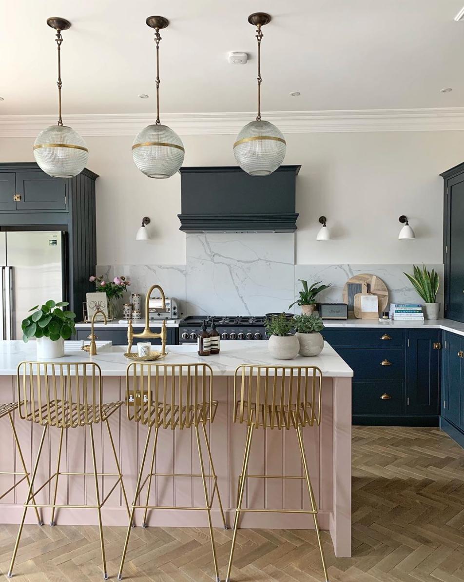 This blush & blue kitchen cabinets
