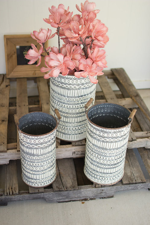 Set of 3 large pressed tin buckets