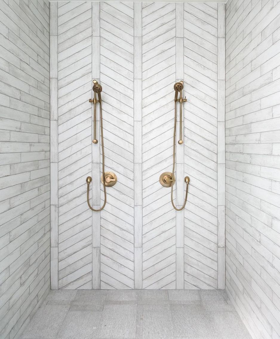 Chevron tile pattern, outdoor shower, fun tile patterns