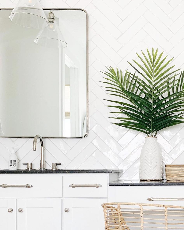 White Herringbone Bathroom Tile
