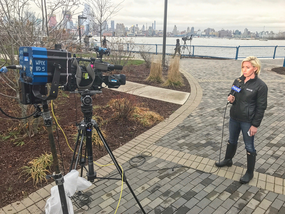 Reporter live shot across from New York City skyline.