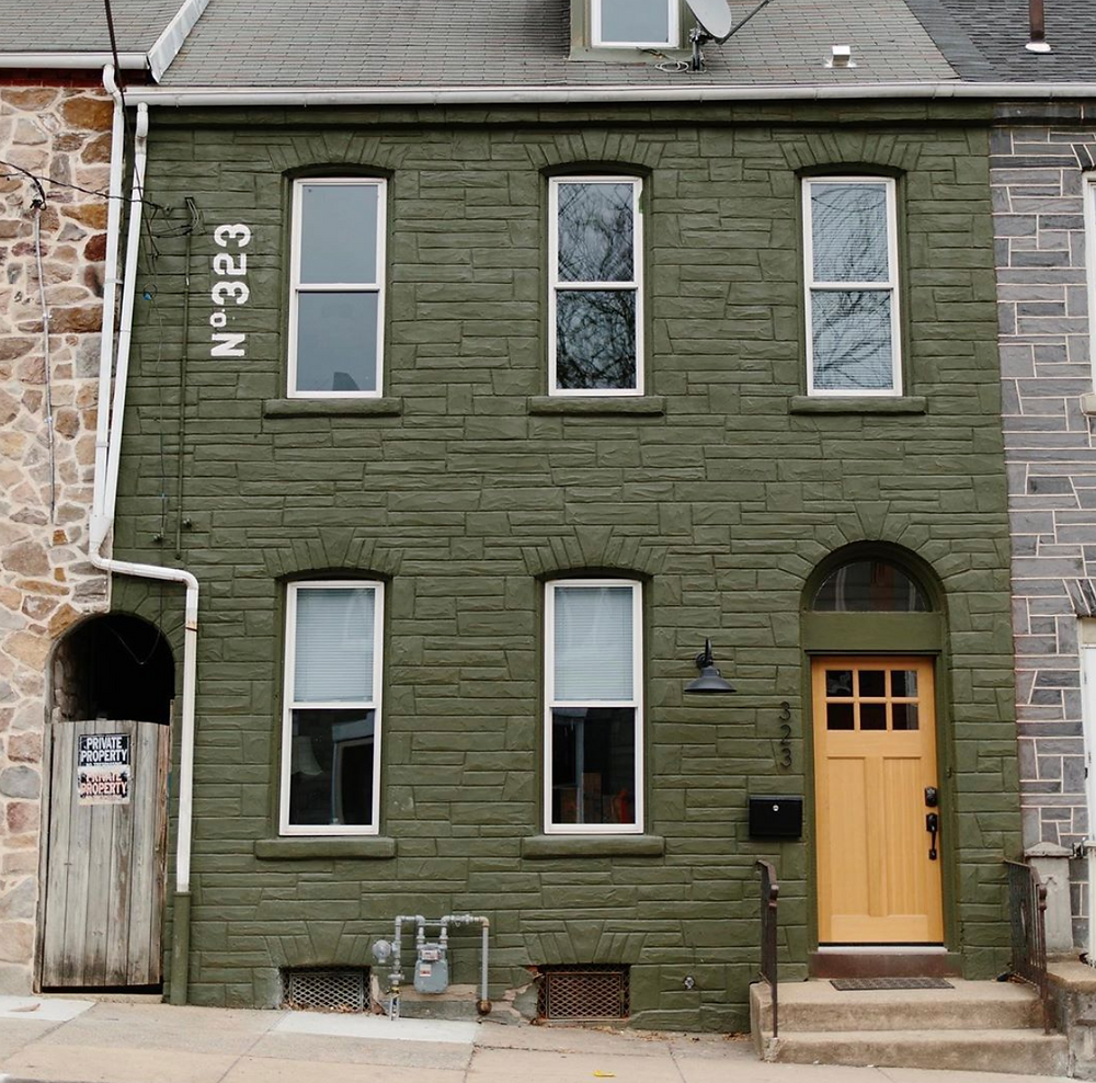green home exterior, row house renovation