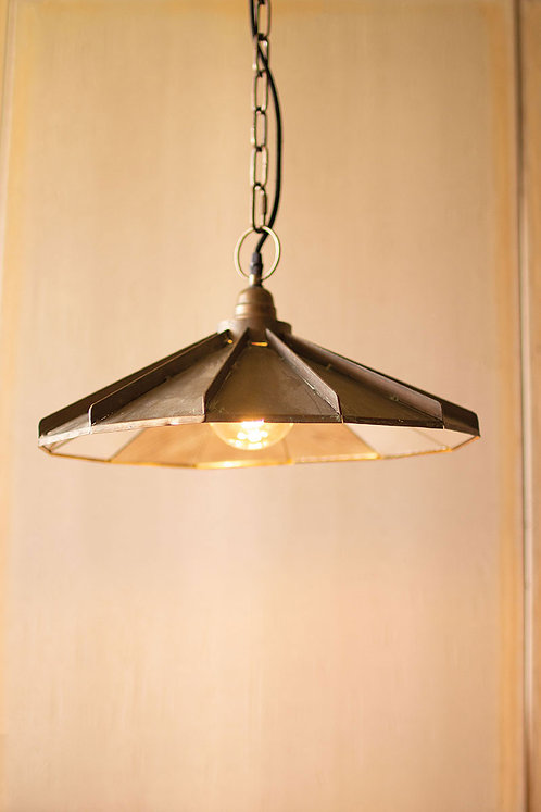 Metal pendant light with mirror detail