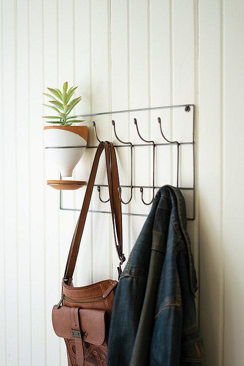 Entryway coatrack with clay planter