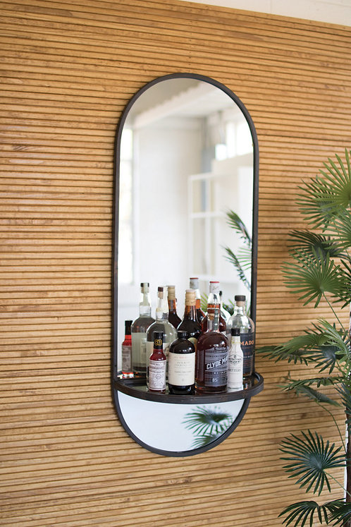 Tall oval wall mirror with folding shelf