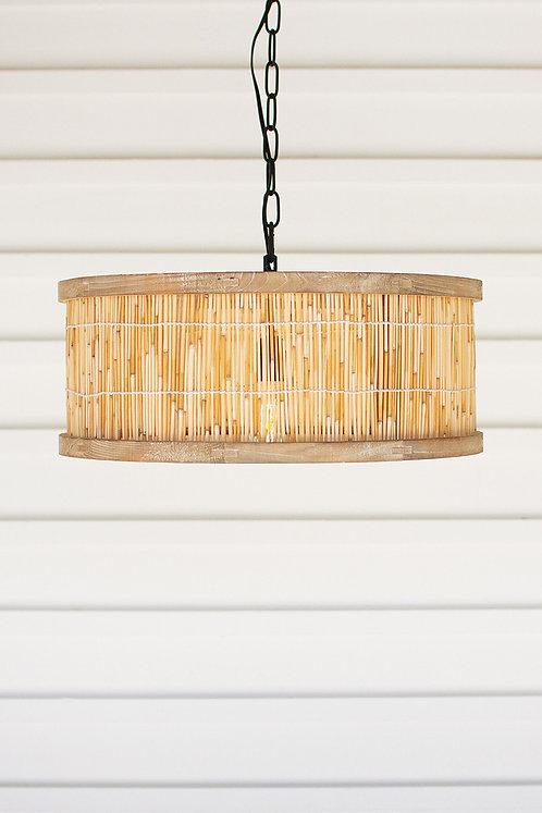 Round wood and cane pendant light