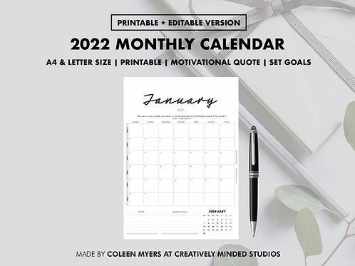 2022 Monthly Calendar   Instant Download   Notes, Goals & Motivation