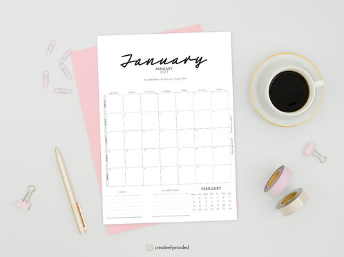 2021 Calendar, Wall & Desk Monthly With Notes, Goals & Quotes