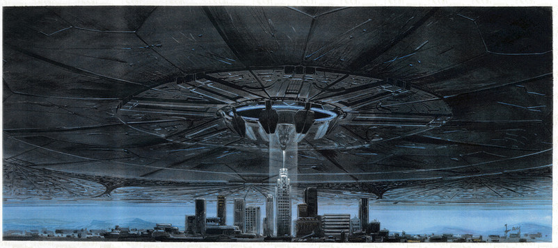 Concept Art: Alien City Destroyer hovers over LA