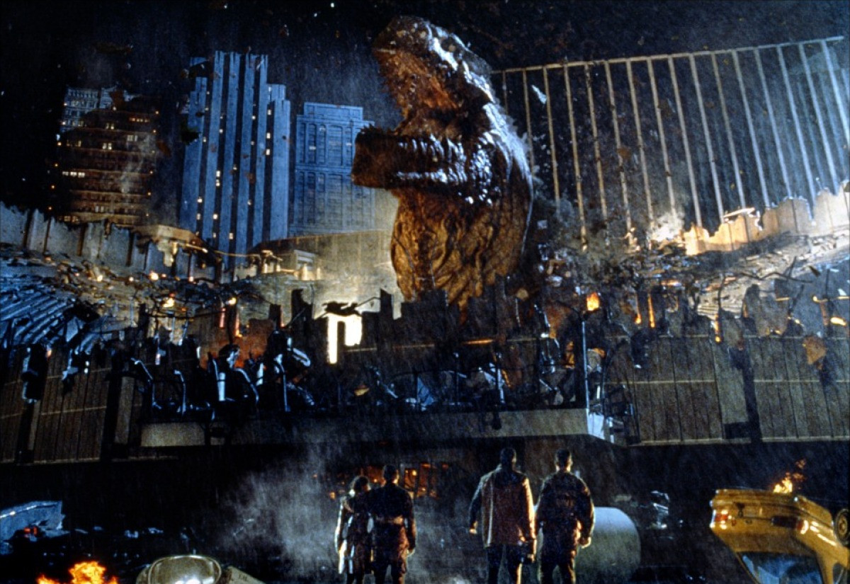Finished shot: Godzilla (man-in-suit) re-emerges out of the destroyed Madison Square Garden