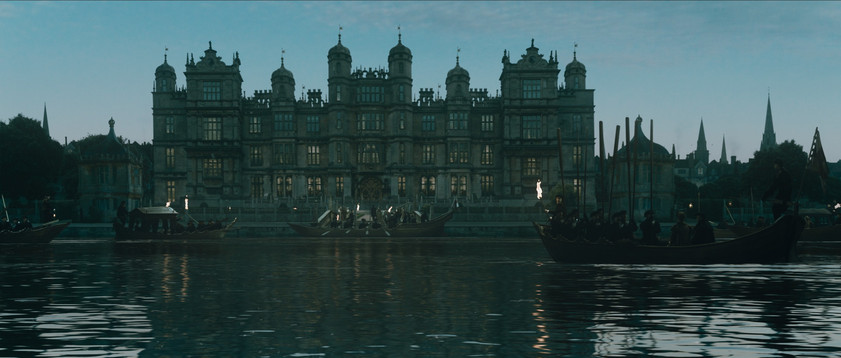 Finished composite of altered building with boats arriving