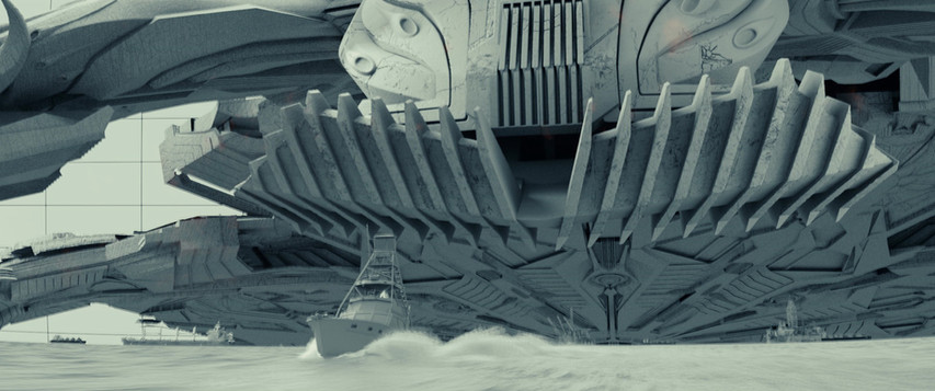 Mothership foot touches down/CG elements by Scanline