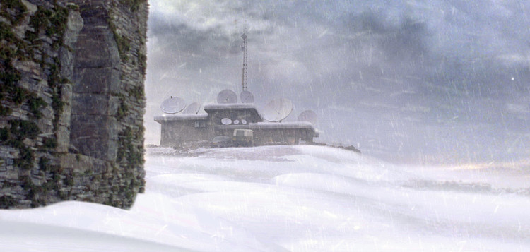 Matte painting extension of snow for research station