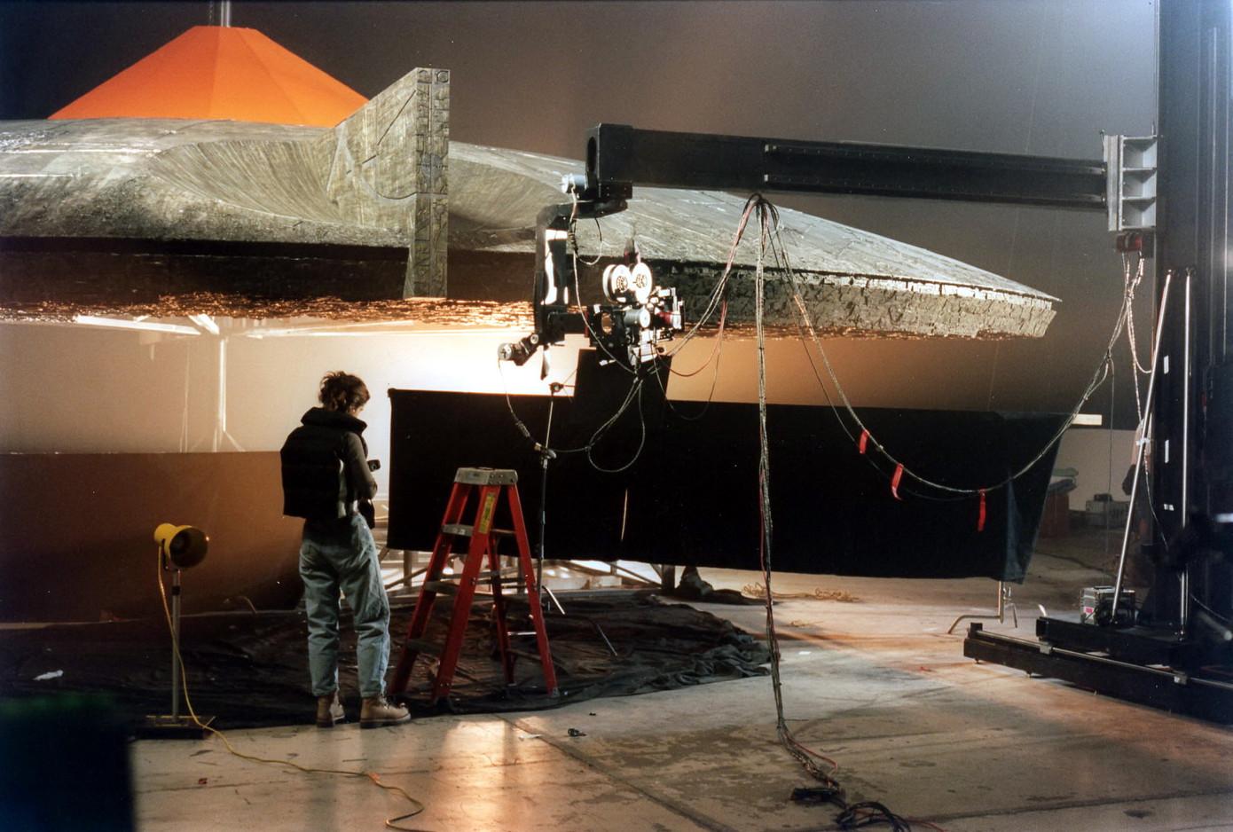 VFX DP Anna Foerster with 30-ft pie-piece of city destroyer