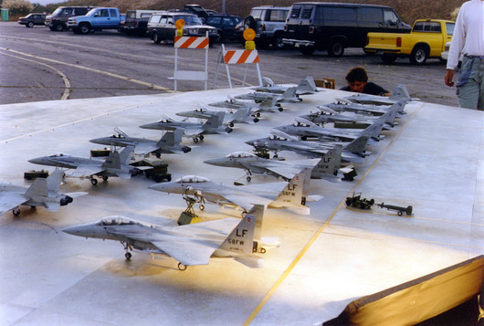 Tabletop miniature for pilots walking towards their F-18 planes
