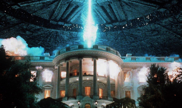 Final shot of exploding White House from trailer