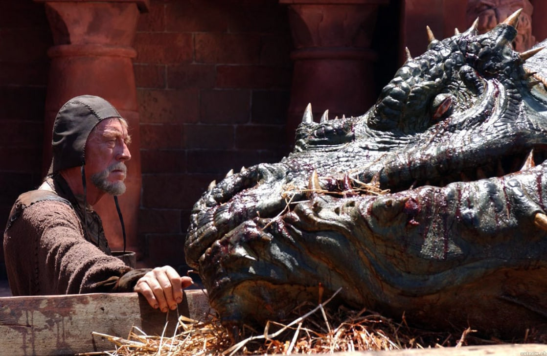 Max von Sydow with the slain dragon