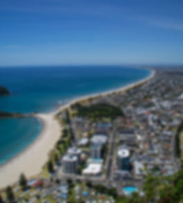 Travel New Zealand. Top view of the beac