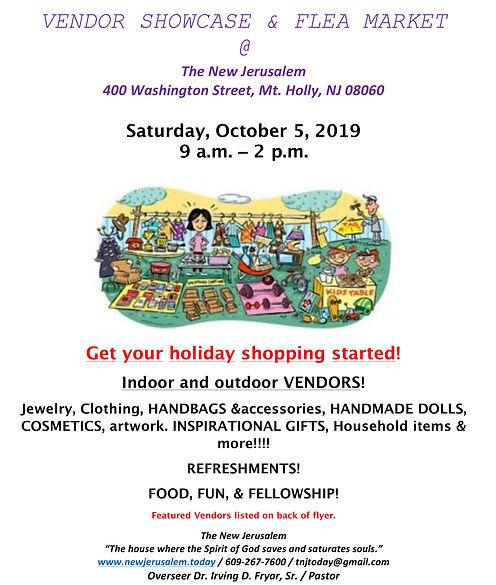 Vendor Showcase Flyer - October 5, 2019.