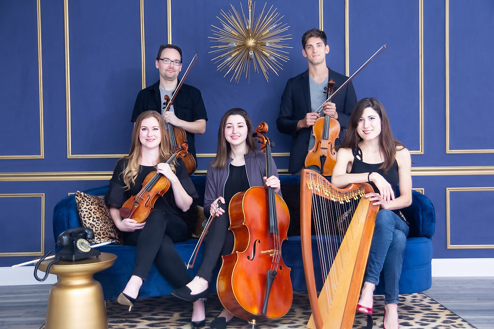 2 Violinists, a violist, a cellist, and a harpist, all holding their instruments posing in front of a blue wall