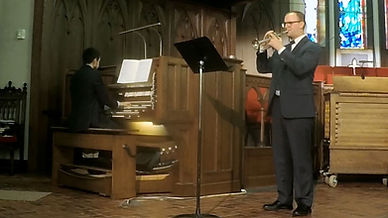 Trumpeter and Organist perform in traditional church chapel in Sanford, Florida