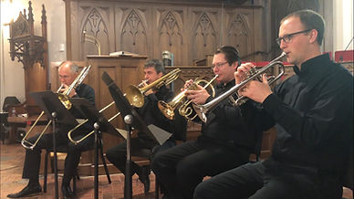 Brass Quartet performs in a traditional church chapel in Sanford, Florida. Trumpet, Flugelhorn, and 2 Trombones.