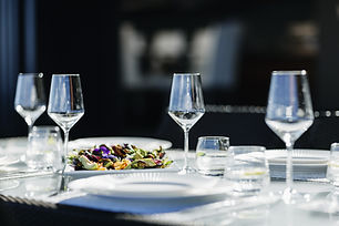 Formal dinner place setting for an elegant dinner with a private chef