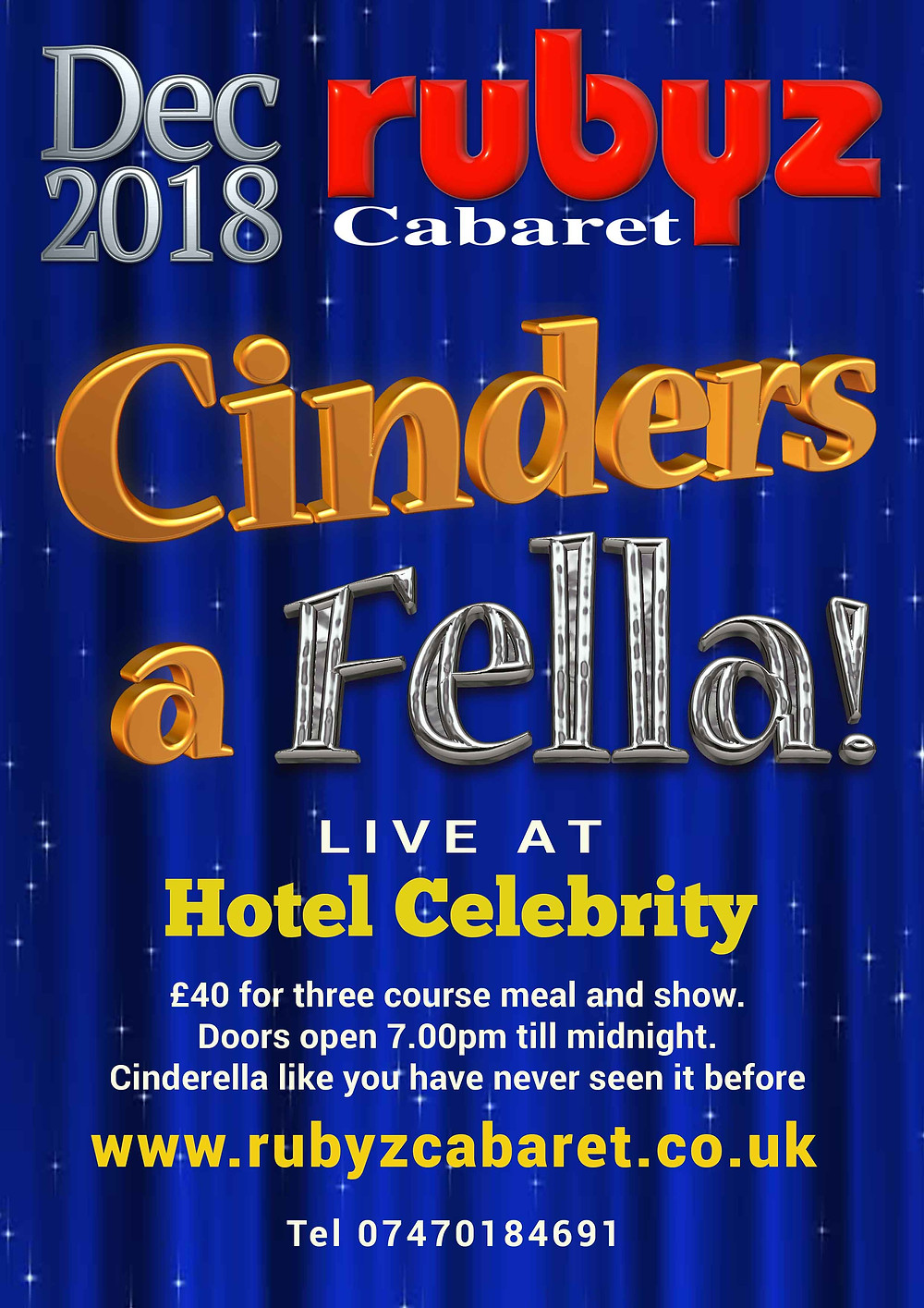Poster for the 2018 Christmas show at Rubyz Cabaret Ltd