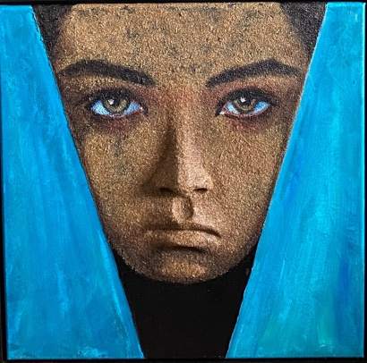 Wrapped in Blues 20x20
