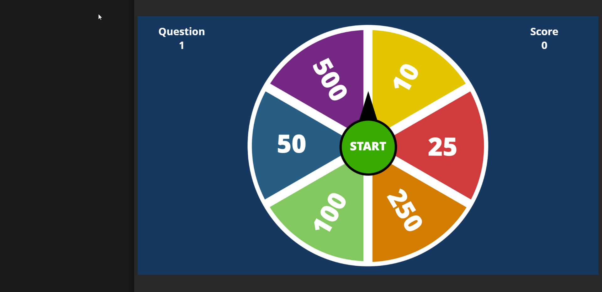 Learner spins the wheel, randomly lands on a number that corresponds with a question.