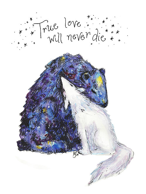 Galaxy Bear White Wolf embrace watercolor art print - 8x10
