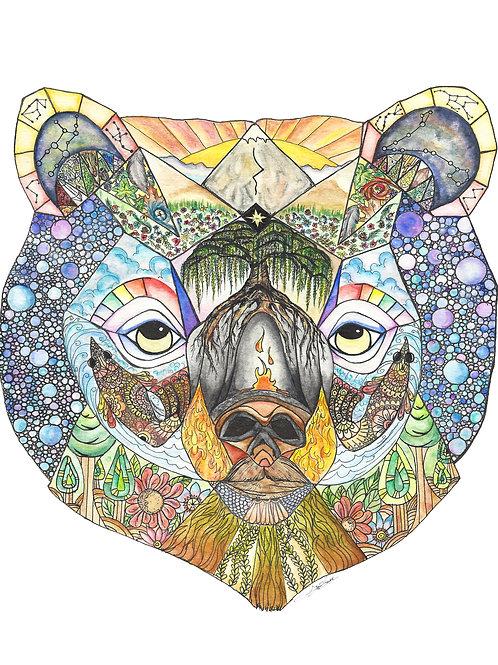 Bear's Sanctuary watercolor art print - 8x10