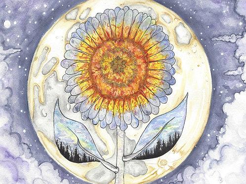 Sunflower Moon watercolor art print - 8x10