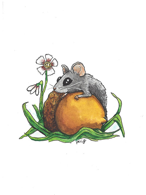 Mouse with Acorn Flower watercolor art print