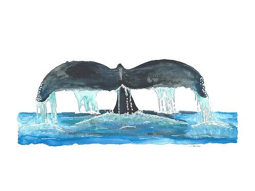 Whale Tail Splash ink art print - 8x10