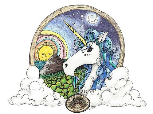 Unicorn Rainbow Sun Moon colored pencil art print - 8x10