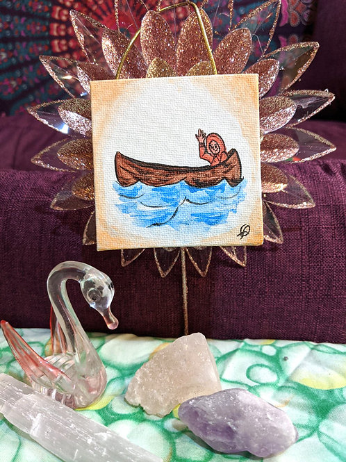 Little Man in a Boat - mini painting