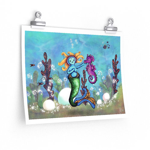 "Lodian Mermaid & Seahorse 14""x11"" poster"