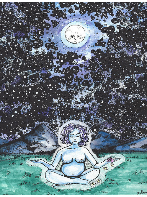 Moon Goddess Meditation Night Sky watercolor art print