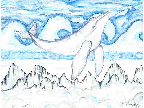 Humpback Whale Hemholtz Clouds watercolor art print - 8x10