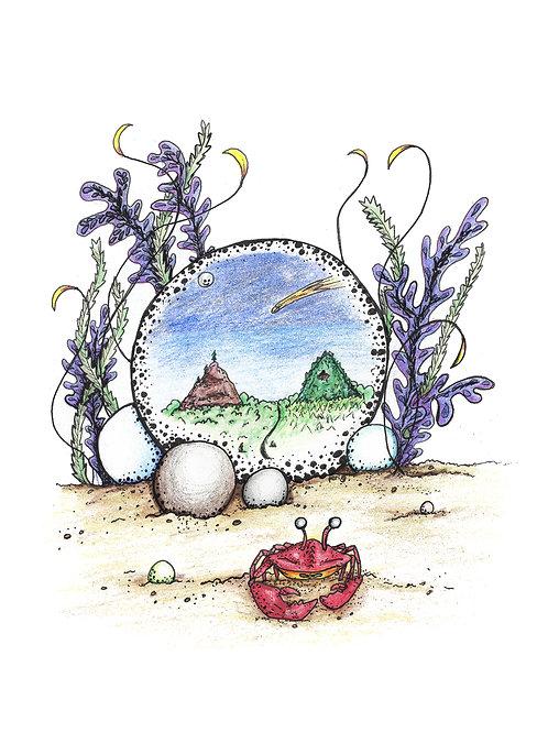 Crab Pearl Seaweed Crystal Ball watercolor art print