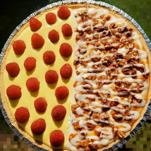 Butter Pecan/ Lemon Cheesecake w/ Fresh Raspberry