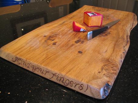 Hand carved waney edge oak chopping board, Welton, Midsomer Norton